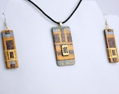 Polymer Circuit Chip Set - UNIQUE Circuit Board & Polymer Clay Pendant + Earring Set