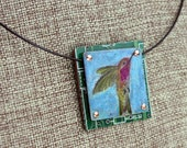 Hummingbird Pendant - Colored Pencil Drawing on Copper + Up-Cycled Circuit Board