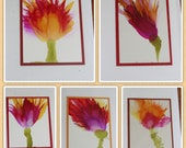 Set of 5 Handmade Greeting Cards - Floral Bloom - Purple, Yellow, Red - Hand-Painted Original Art - Blank Note Cards