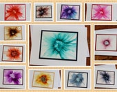 SINGLE Handmade Greeting Card - Pick Your Color - Made TO ORDER - Floral / Flowers - Blank Note Card - Hand-Painted Original Art
