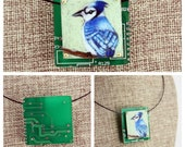 BlueJay Bird Pendant - Colored Pencil Drawing on Copper + Up-Cycled Circuit Board