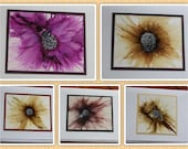Set of 5 Handmade Greeting Cards - Floral Bloom - Pale Yellow/Gold, Mauve, Purple - Hand-Painted Original Art - Blank Note Cards