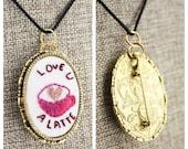 Love U A Latte - Convertible Embroidered Pendant/Pin