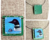 Loon Mother and Chick Pendant - Colored Pencil Drawing on Copper + Up-Cycled Circuit Board