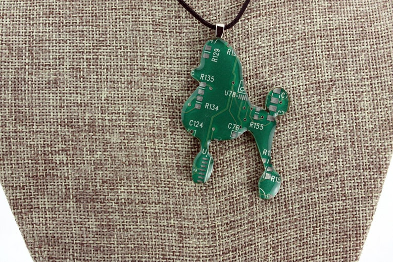 Poodle Pendant  Whimsical Recycled Circuit Board Copper & image 0