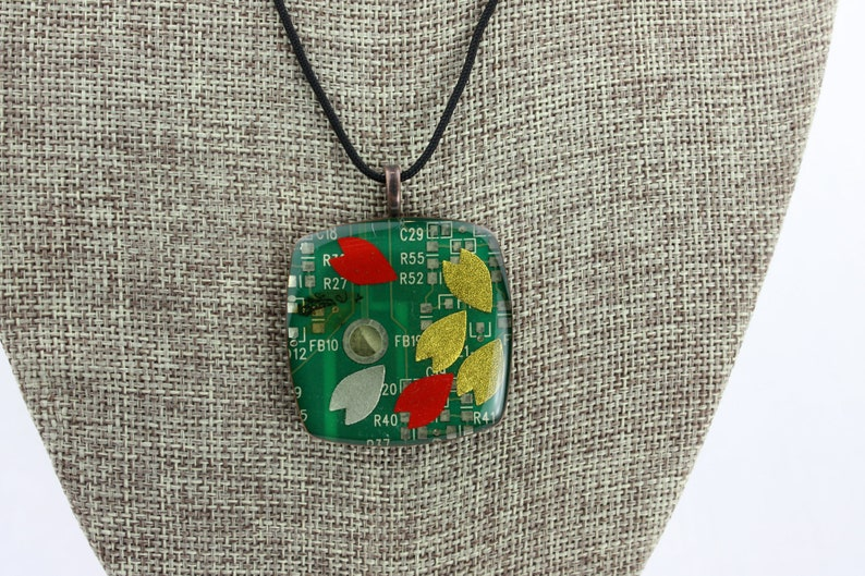 Modern Recycled Circuit Board Pendant  Polymer Clay Copper image 0