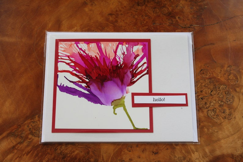 Set of 5 Handmade Greeting Cards  Floral Bloom  Hello  image 0