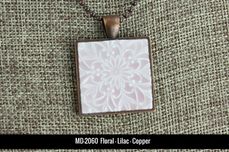 Floral Patterns  Glazed Porcelain-Look Charm Pendant  MD-2060 Lilac/Copper