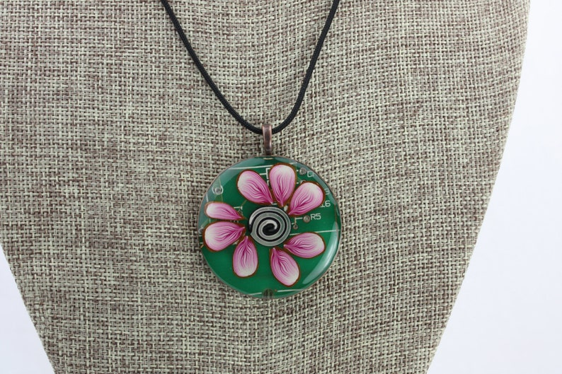 Floral Pendant  Recycled Circuit Board Polymer Clay & Resin image 0