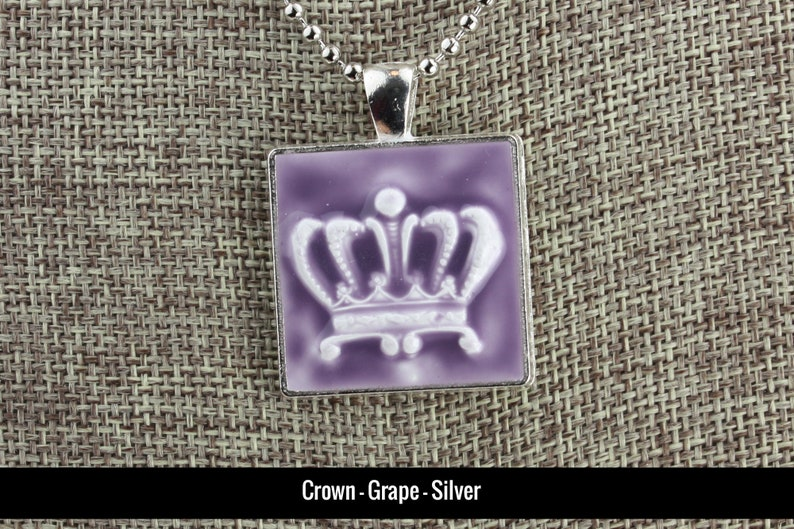 Regal Crown Glazed Porcelain-Look Charm Pendants  Various Grape/Silver
