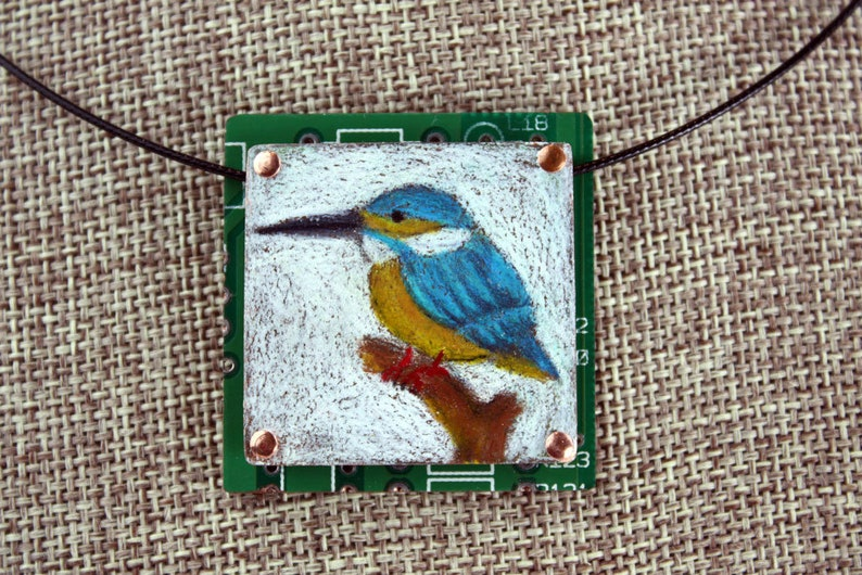 Kingfisher Bird Pendant  Colored Pencil Drawing on Copper  image 0
