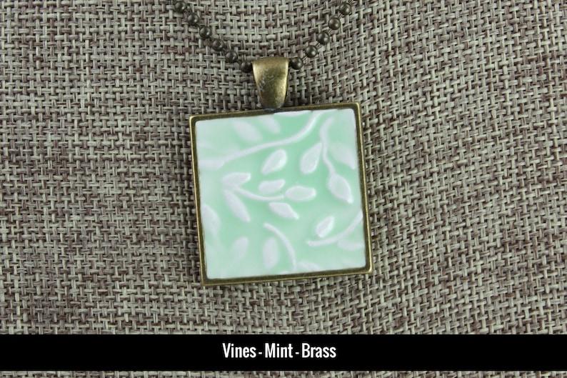 Vines Glazed Porcelain-Look Charm Pendant  Mint Green and image 0