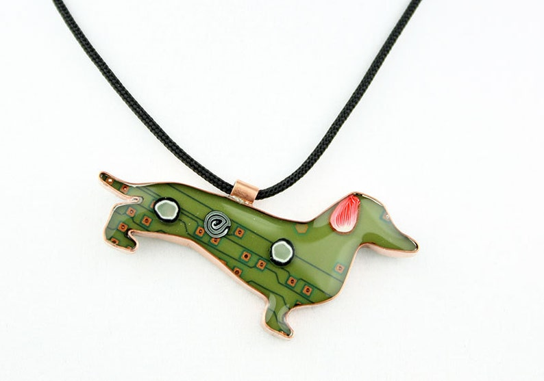 Dachshund Jewelry  Spot  Whimsical Upcycled image 0