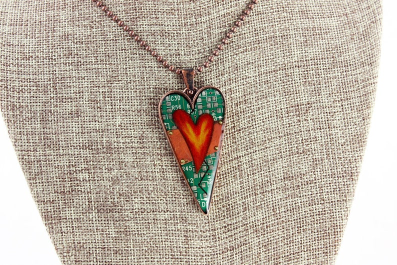 Heart Pendant / Necklace  Hearts Aflame  Mended Heart  Love image 0