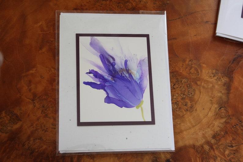 Set of 5 Handmade Greeting Cards  Floral Bloom  Purple image 0