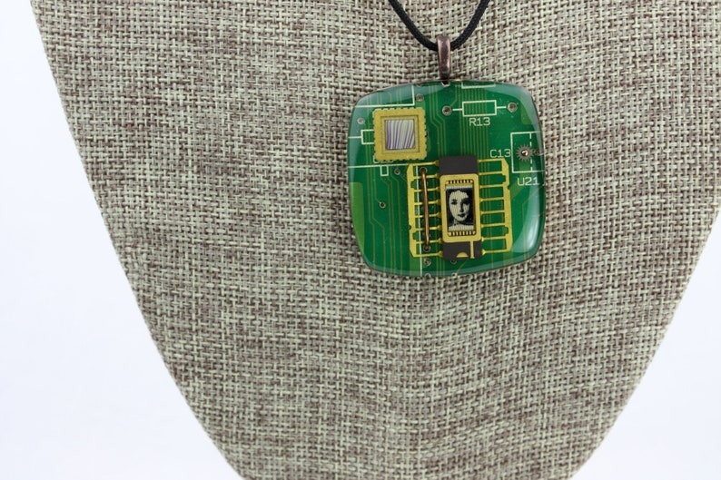 Recycled Circuit Board Polymer Clay Copper & Resin  Woman image 0