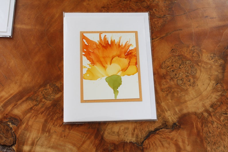 Set of 5 Handmade Greeting Cards  Floral Bloom  Yellow image 0