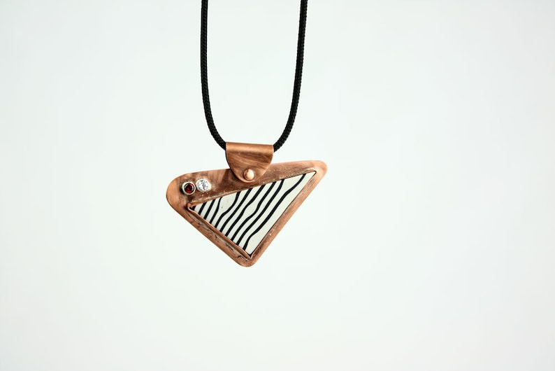 Tipsy Wild Angles  Copper & Polymer Clay Kinetic Necklace image 0