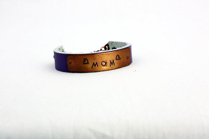MOM Bracelet  Hand-Stamped Copper & Leather  Adjustable  MOM Purple