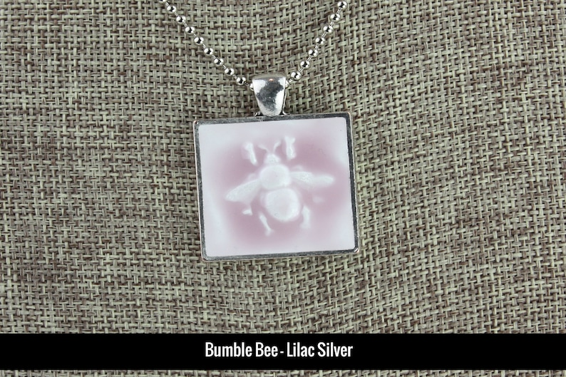 Bee Glazed Porcelain-Look Charm Pendants  Various Colors Bumble Lilac/Silver