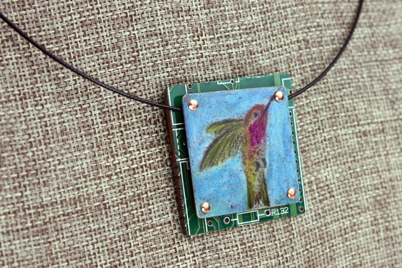 Hummingbird Pendant  Colored Pencil Drawing on Copper  image 0