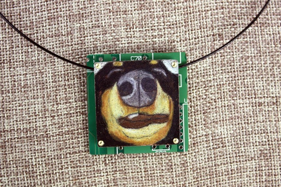 Colored Pencil Drawing on Copper Recycled Circuit Board Black /& Tan Dachshund Pendant The Schnoz