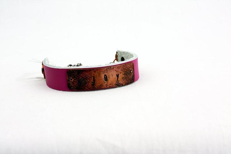 JOY Bracelet  Hand-Stamped Copper & Leather  Adjustable image 0