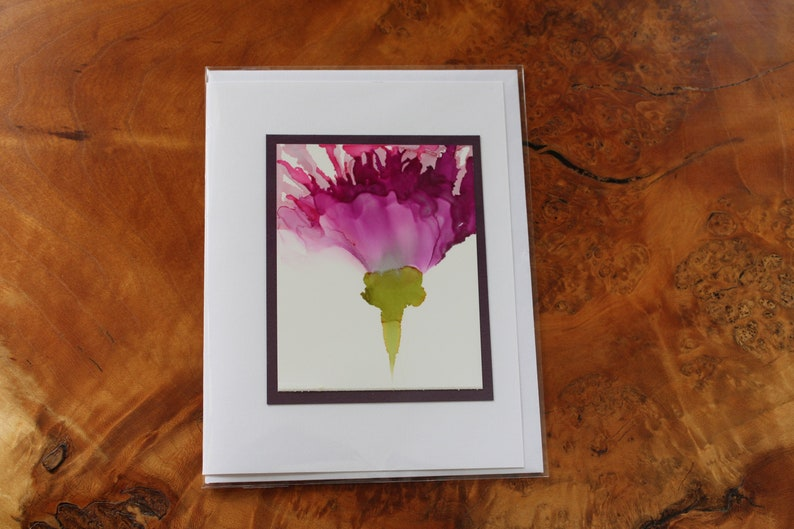 Set of 5 Handmade Greeting Cards  Flowers  Pink & Purple  image 0