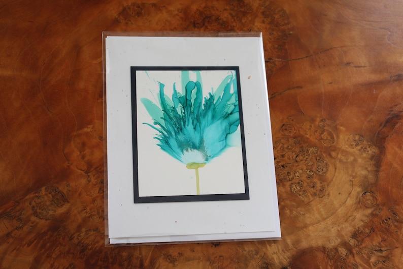 Set of 5 Handmade Greeting Cards  Floral Bloom  Teal Blue image 0