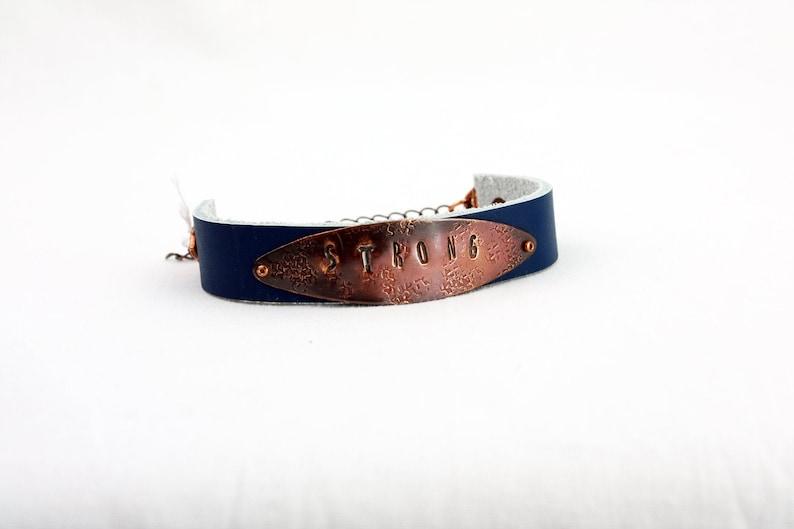 STRONG Bracelet  Hand-Stamped Copper & Leather  Adjustable STRONG Dark Blue