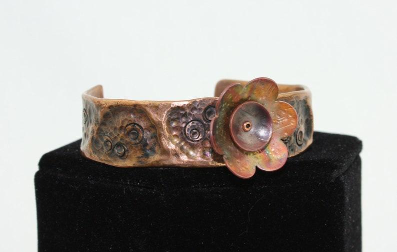 Floral Copper Cuff Bracelet  SMALL image 0