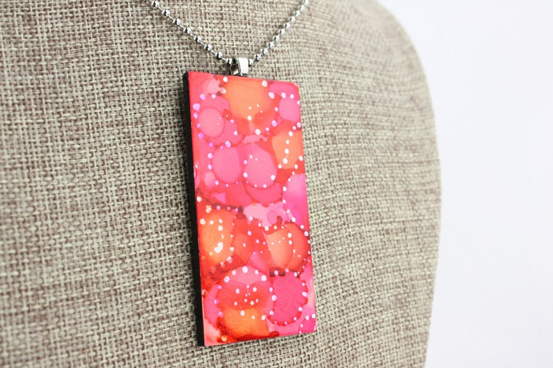 Alcohol Ink Pendant  Hand-Painted Abstract Design  Pink image 0