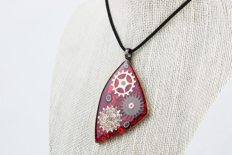 Geared in Red 1  Recycled Circuit Board Pendant  Copper image 0