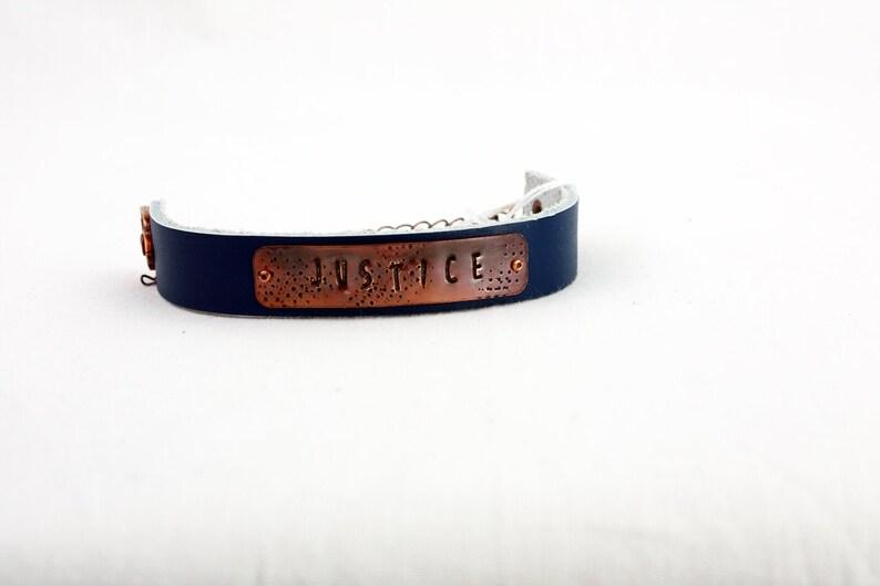 JUSTICE Bracelet  Hand-Stamped Copper & Leather  Adjustable JUSTICE Blue