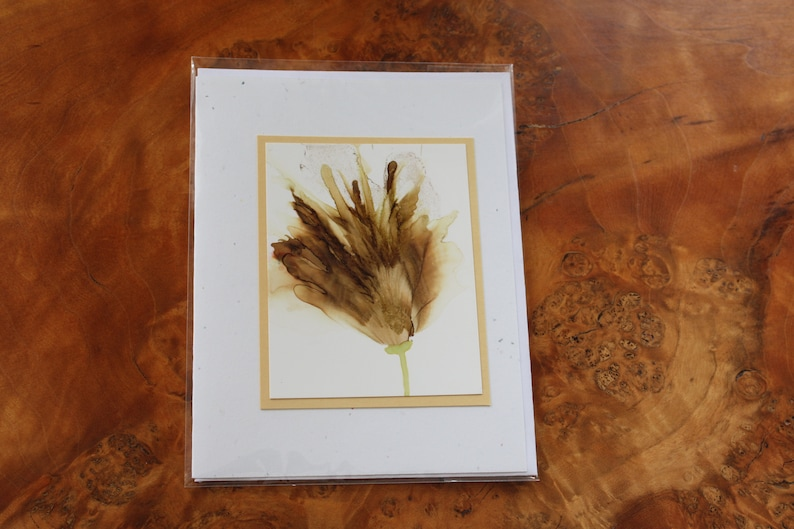 Set of 5 Handmade Greeting Cards  Floral Bloom  Earth Tones image 0