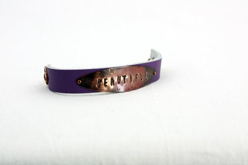 BEAUTIFUL Bracelet  Hand-Stamped Copper & Leather  BEAUTIFUL Purple