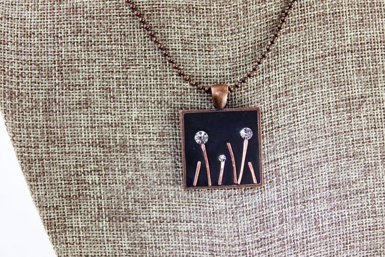 Crystal and Copper Flower Garden Bling Pendant  Copper Tray & Chain