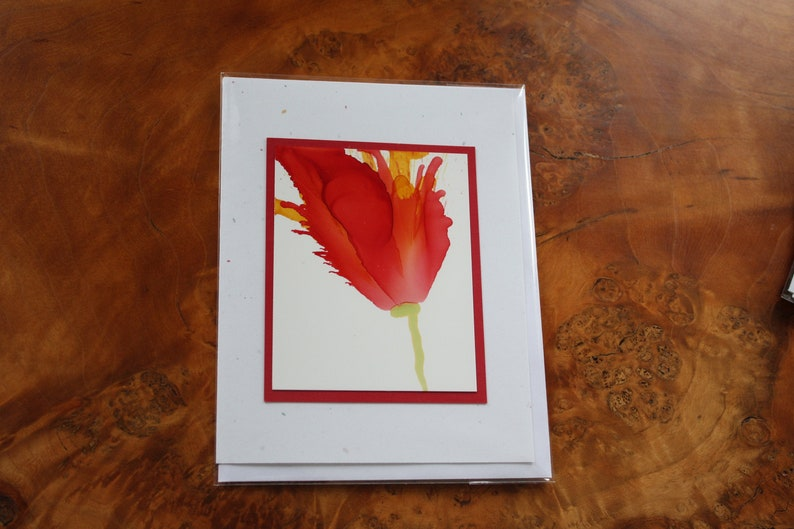 Set of 5 Handmade Greeting Cards  Floral Bloom  Yellow Red image 0