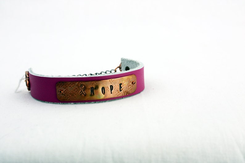 Breast Cancer Bracelets  Hand-Stamped Copper & Leather  BC HOPE