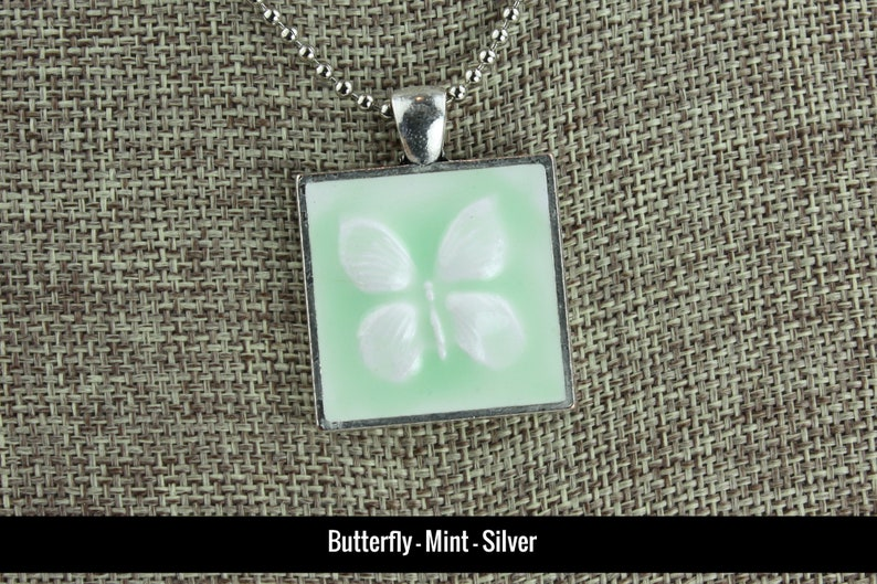 Butterfly Glazed Porcelain-Look Charm Pendants  Various Mint-Silver