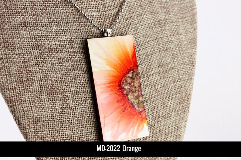 Orange Floral Pendant  Airbrushed Ink Painting image 0
