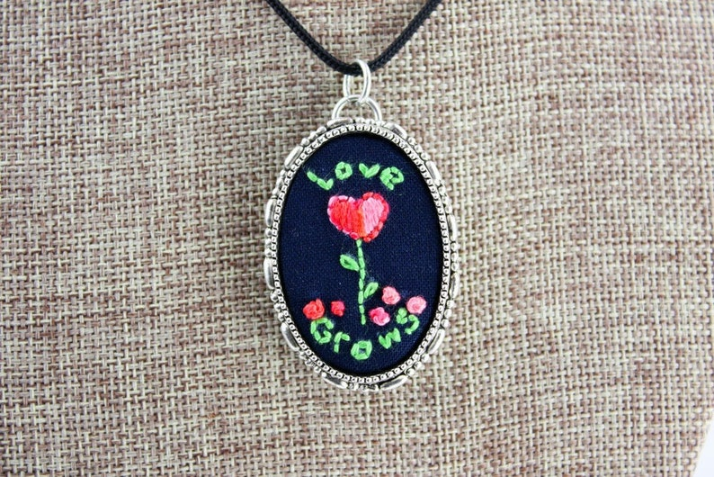 Love Grows  Convertible Embroidered Pendant/Pin image 0