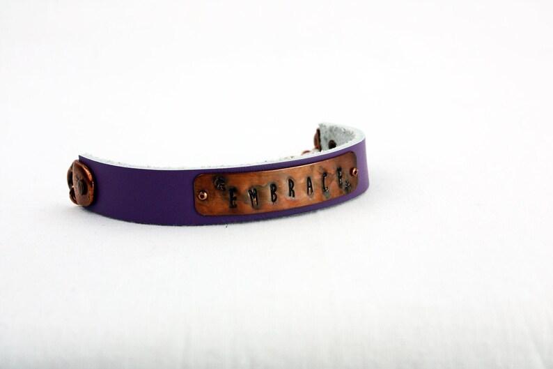 Embrace Bracelet  Hand-Stamped Copper & Leather  Adjustable image 0