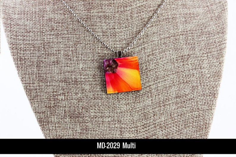 Floral Pendant  Red & Yellow  Airbrushed Ink Painting image 0
