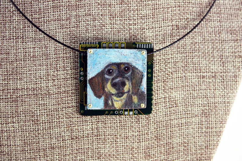 Dachshund Pendant  Oscar  Colored Pencil Drawing image 0