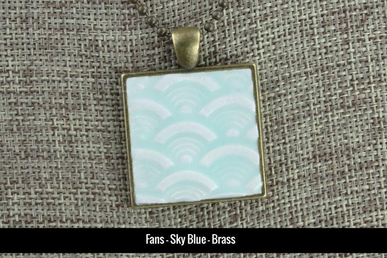Fans Glazed Porcelain-Look Charm Pendant  Pale Sky Blue and image 0