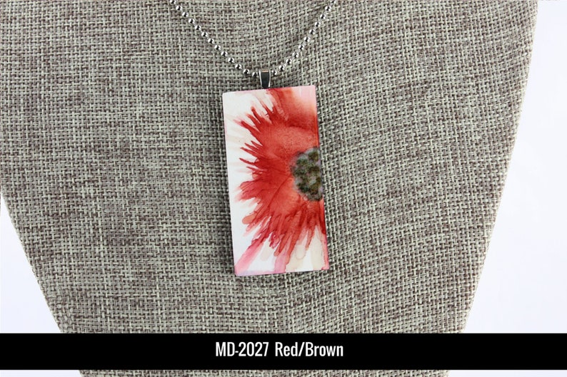 Floral Pendant  Brick Red  Airbrushed Ink Painting image 0