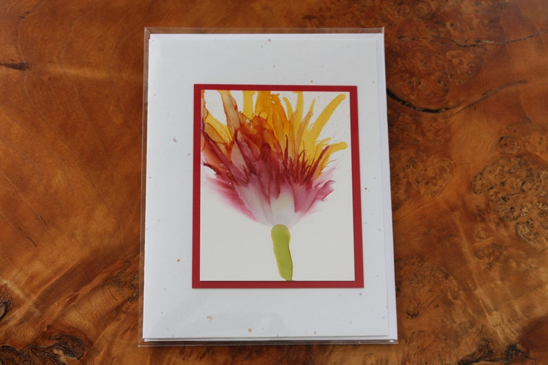 Set of 5 Handmade Greeting Cards  Floral Bloom  Red Yellow image 0