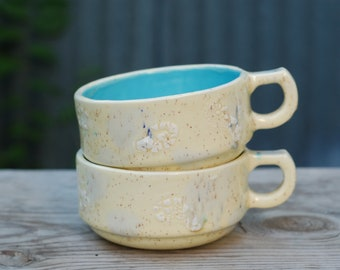 Wide Large Cup - Turquoise Inside with Speckled Drippy Glazes -Ceramics and Pottery - Modern Ceramics -