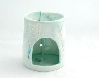 Handmade Ceramic Oil Burner - Pale Blue Drippy Glazes Essential Oil Diffuser - Modern Ceramics